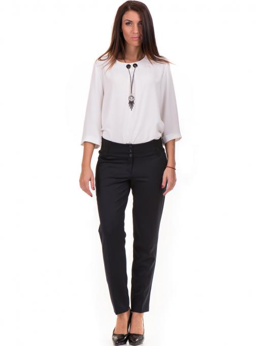 Дамски панталон F.L.M с колан 669 -  тъмно син C