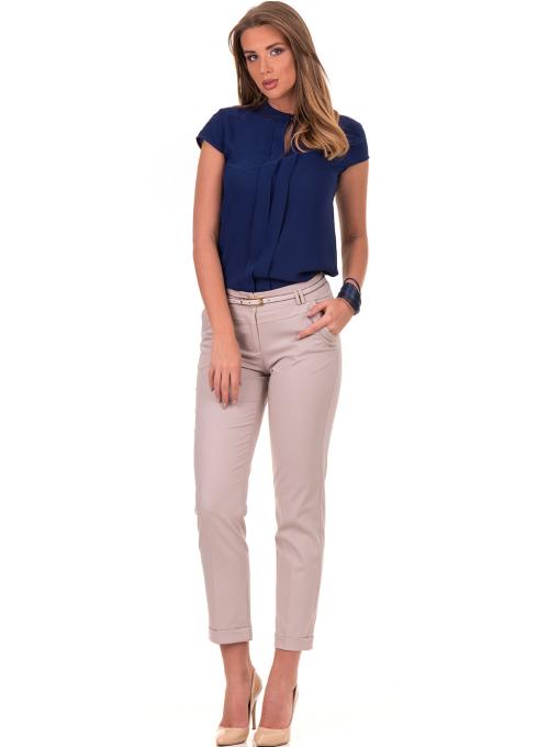 Дамски панталон F.L.M с италиански джоб и колан 712 - светло бежов C