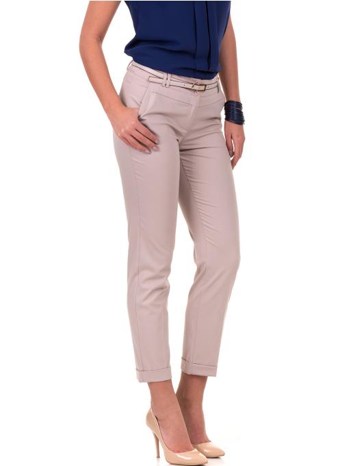 Дамски панталон F.L.M с италиански джоб и колан 712 - светло бежов
