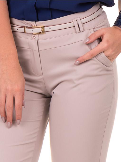 Дамски панталон F.L.M с италиански джоб и колан 712 - светло бежов D