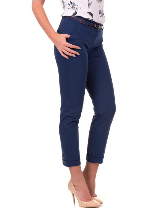 Дамски панталон F.L.M с италиански джоб и колан 712 - син