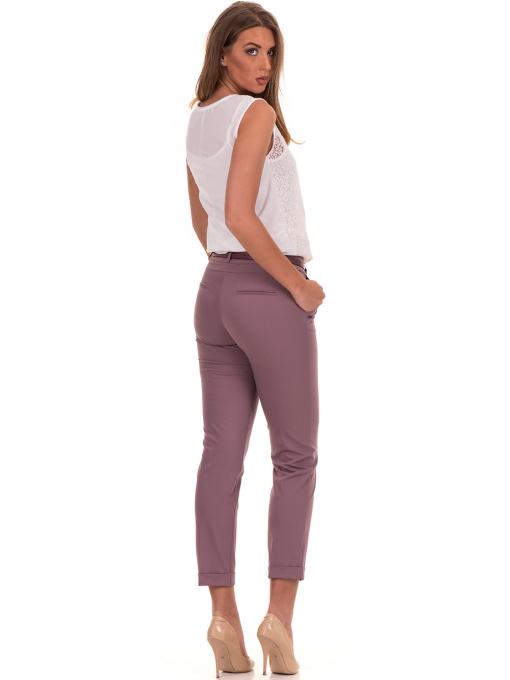 Дамски панталон F.L.M с италиански джоб и колан 712 - лилав E