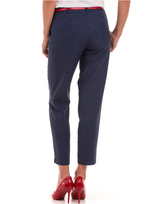 Дамски панталон F.L.M с колан 734 - тъмно син B