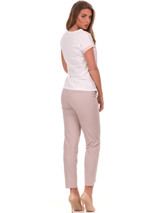 Дамски панталон F.L.M с колан 735 - светло бежов E