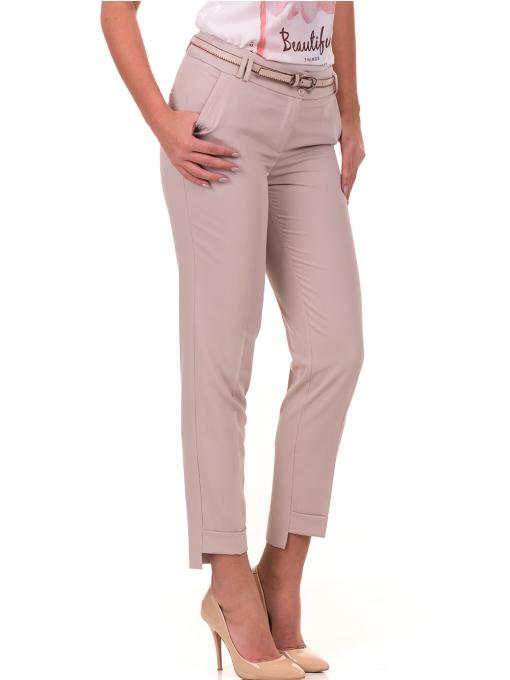Дамски панталон F.L.M с колан 735 - светло бежов
