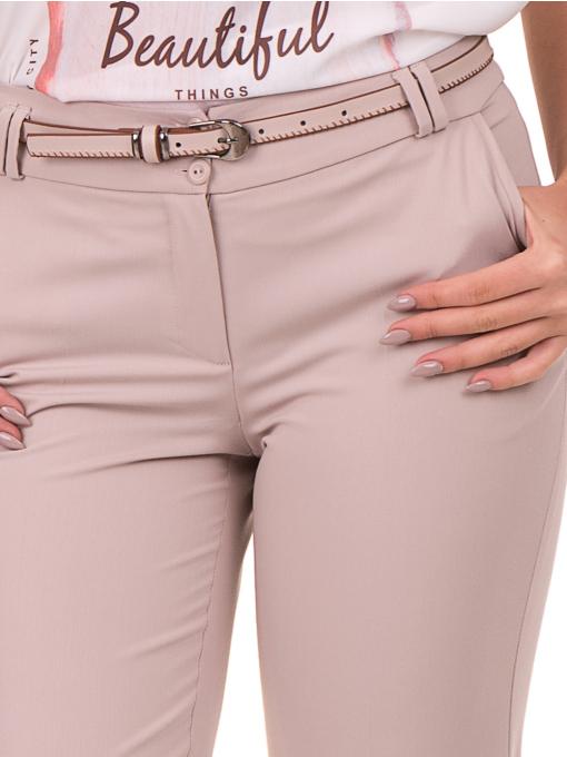 Дамски панталон F.L.M с колан 735 - светло бежов  D