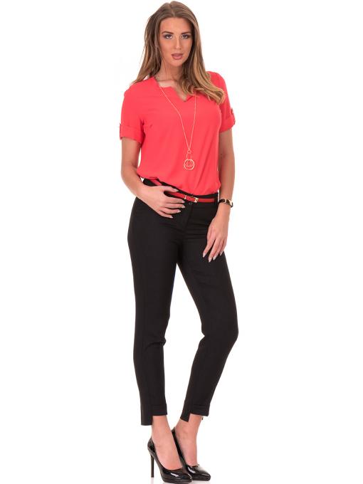 Дамски панталон F.L.M с колан 738 - черен C