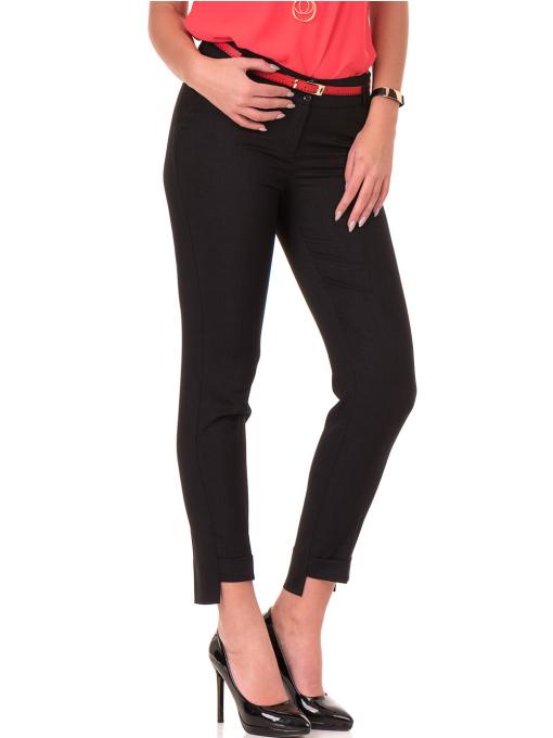 Дамски панталон F.L.M с колан 738 - черен