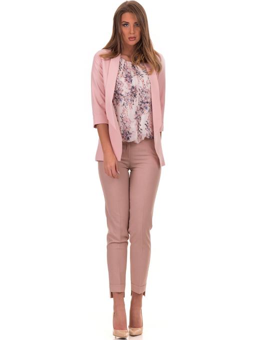 Дамски панталон F.L.M с колан 738 - цвят пудра C