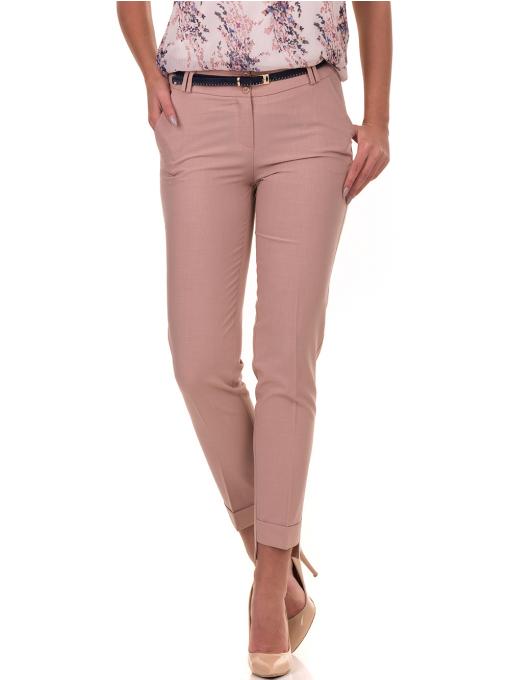 Дамски панталон F.L.M с колан 738 - цвят пудра