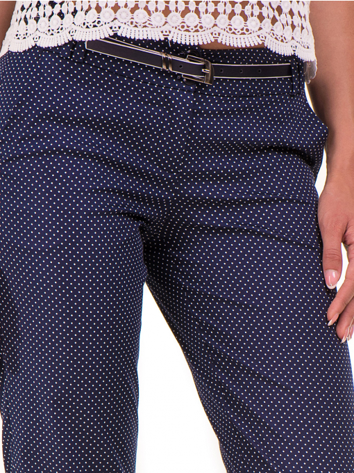 Дамски панталон F.L.M с колан 743 - тъмно син D