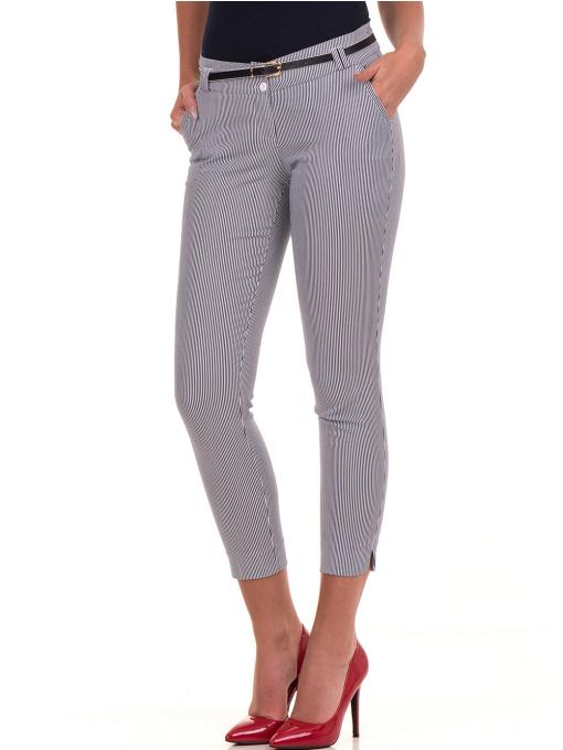 Дамски панталон F.L.M с колан B561 - син