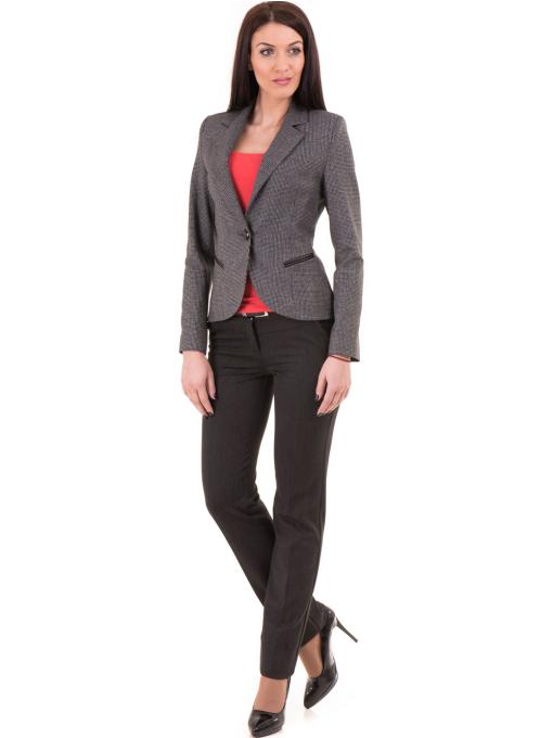 Дамски панталон F.L.M. с колан 901 - тъмно сив C