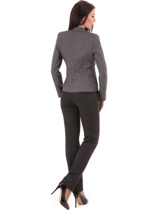 Дамски панталон F.L.M. с колан 901 - тъмно сив E