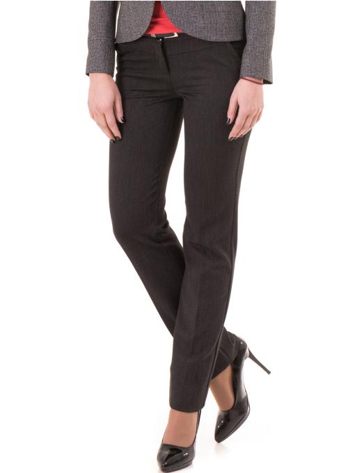 Дамски панталон F.L.M. с колан 901 - тъмно сив
