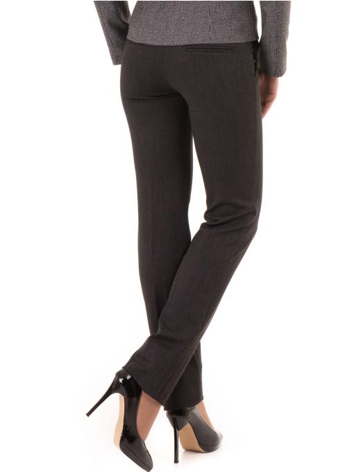 Дамски панталон F.L.M. с колан 901 - тъмно сив B