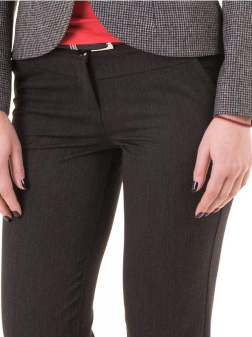 Дамски панталон F.L.M. с колан 901 - тъмно сив D