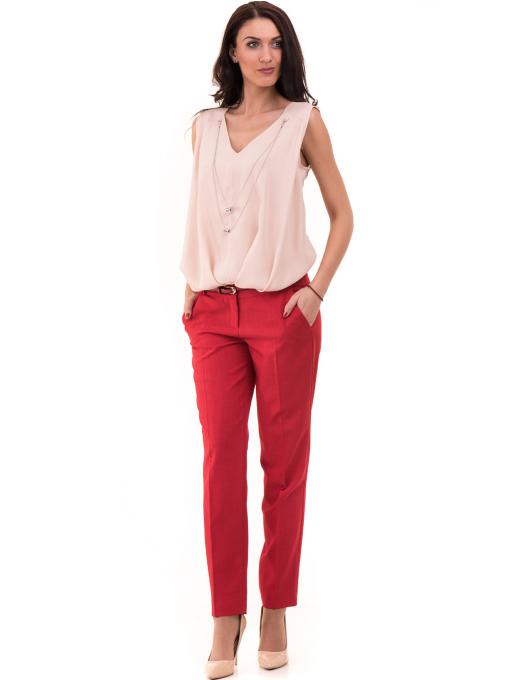 Дамски панталон F.L.M с колан 964 - червен C