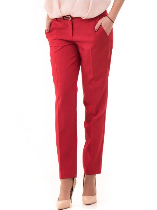 Дамски панталон F.L.M с колан 964 - червен