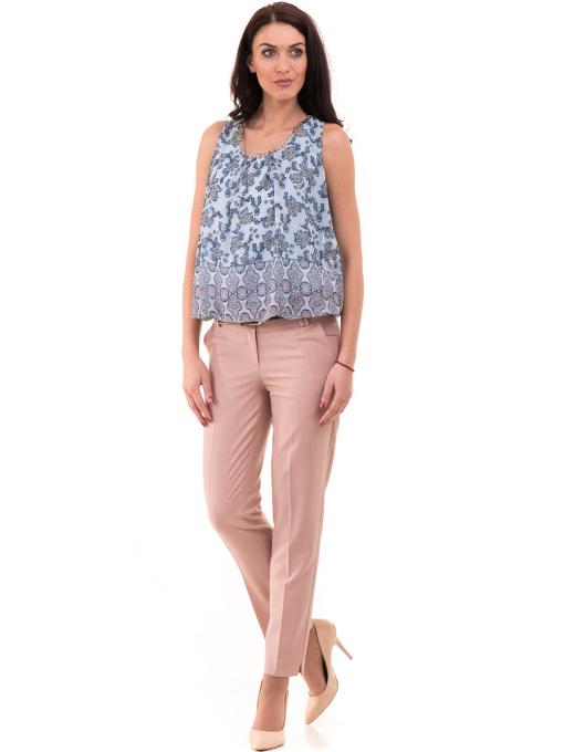 Дамски панталон F.L.M с колан 964 - светло розов C