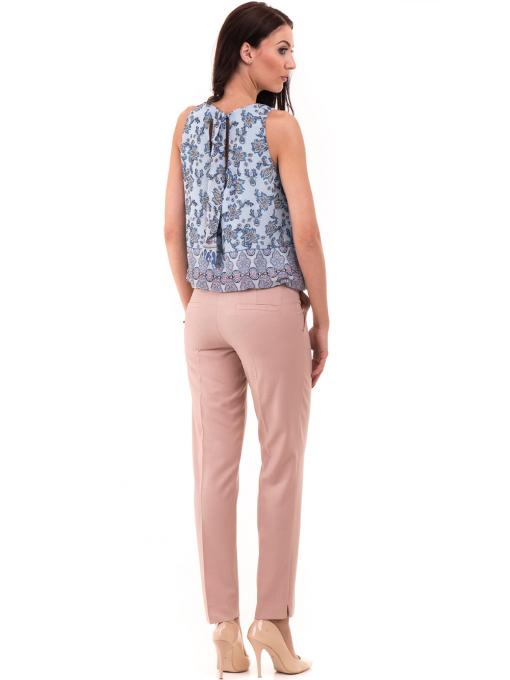 Дамски панталон F.L.M с колан 964 - светло розов E
