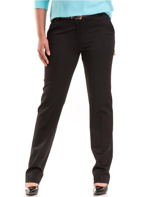Дамски панталон F.L.M с колан B491 - черен