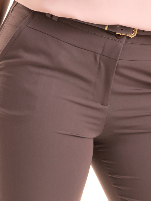 Дамски панталон F.L.M с колан B511 - тъмно бежов D