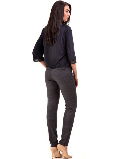 Елегантен дамски панталон KYLIE в големи размери B437 - тъмно син E