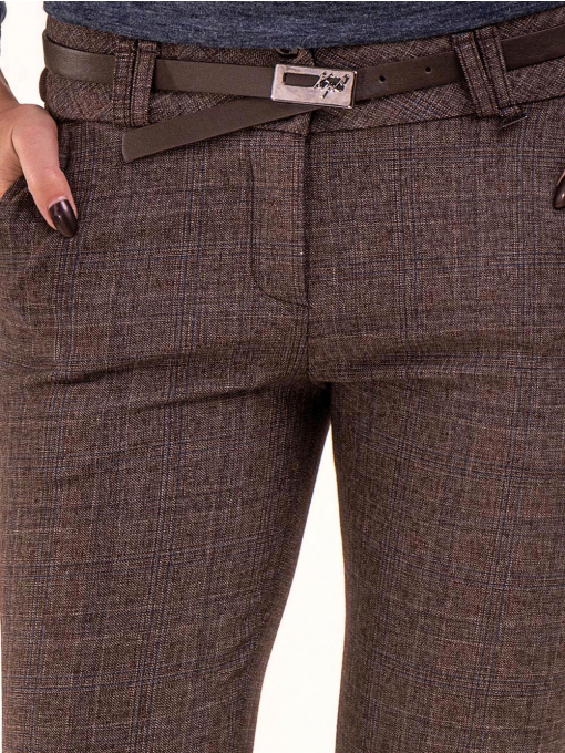 Дамски панталон KYLIE с италиански джоб и колан B478 - светло кафяв D