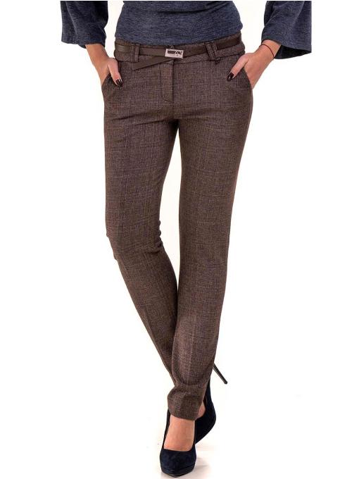 Дамски панталон KYLIE с италиански джоб и колан B478 - светло кафяв