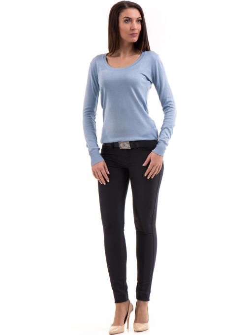 Дамски панталон LACARINO с колан 3126 - тъмно синьо C