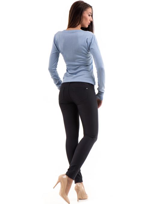 Дамски панталон LACARINO с колан 3126 - тъмно синьо E