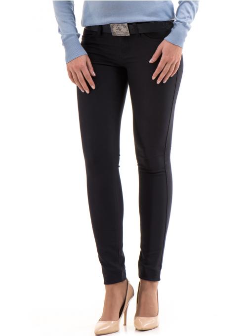 Дамски панталон LACARINO с колан 3126 - тъмно синьо