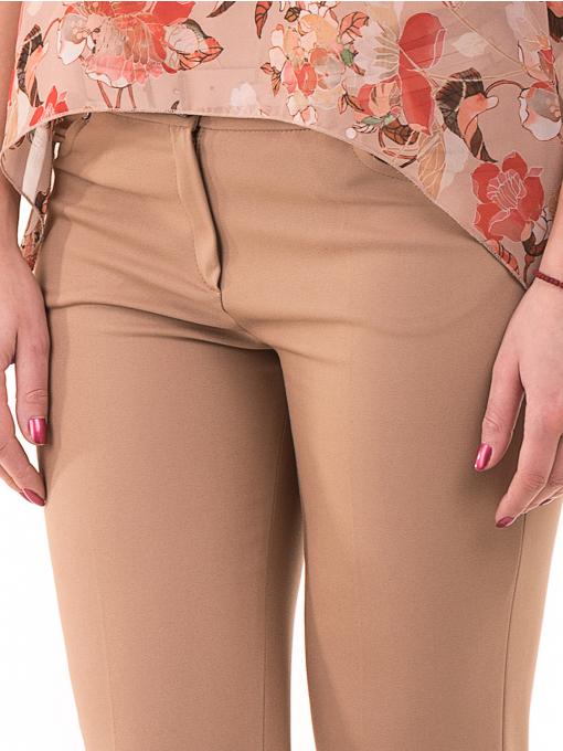 Дамски панталон SELEN с колан 31535 - тъмно бежов D