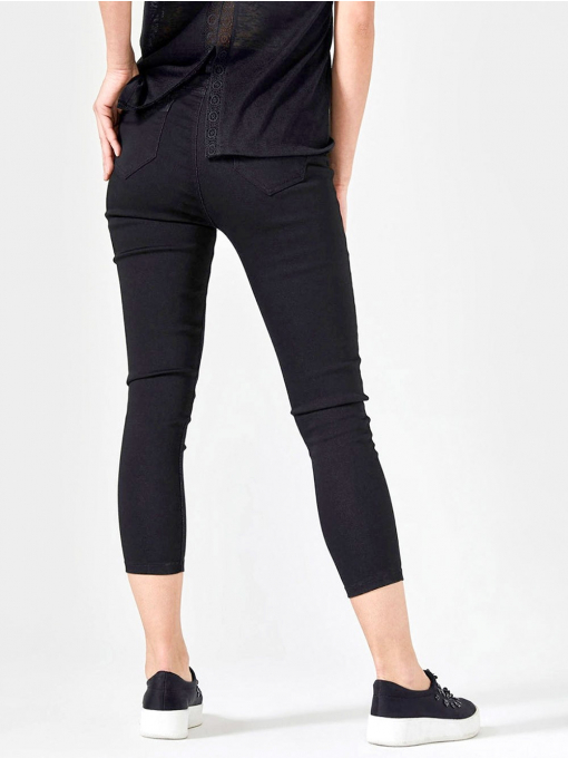 Черен слим фит дамски панталон 7/8 от Indigo Fashion 1