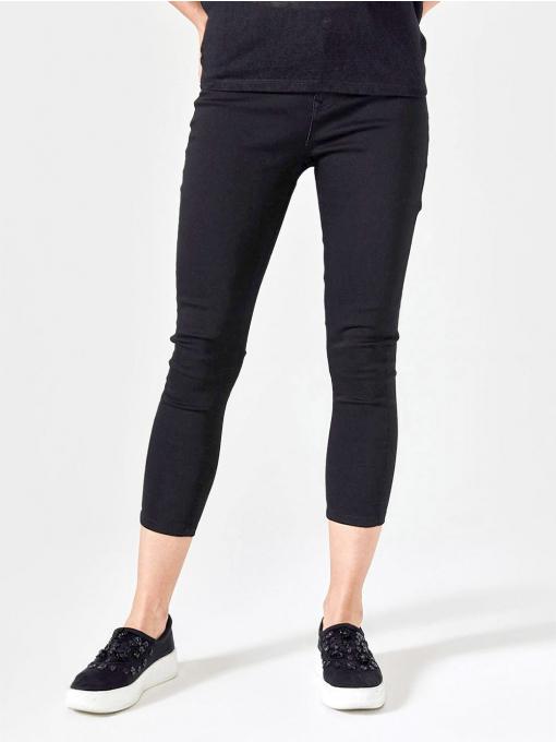 Черен слим фит дамски панталон 7/8 от Indigo Fashion