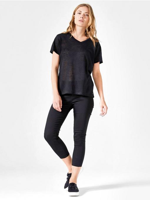 Черен слим фит дамски панталон 7/8 от Indigo Fashion 2