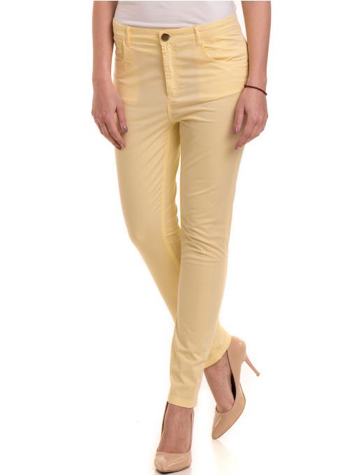 Дамски слим фит панталон XINT 337 - жълт