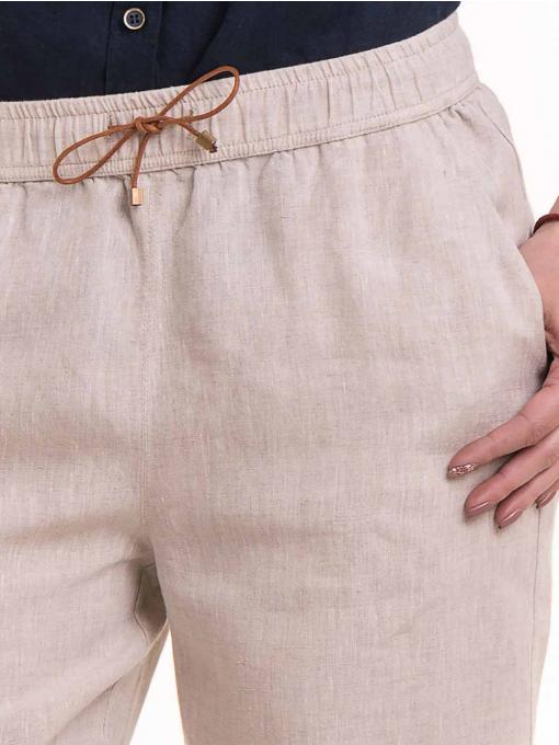 Дамски ленен панталон XINT 482 - светло бежов D
