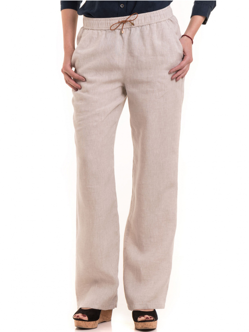 Дамски ленен панталон XINT 482 - светло бежов