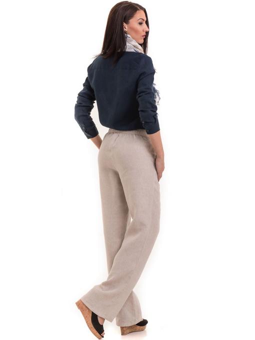 Дамски ленен панталон XINT 482 - светло бежов E