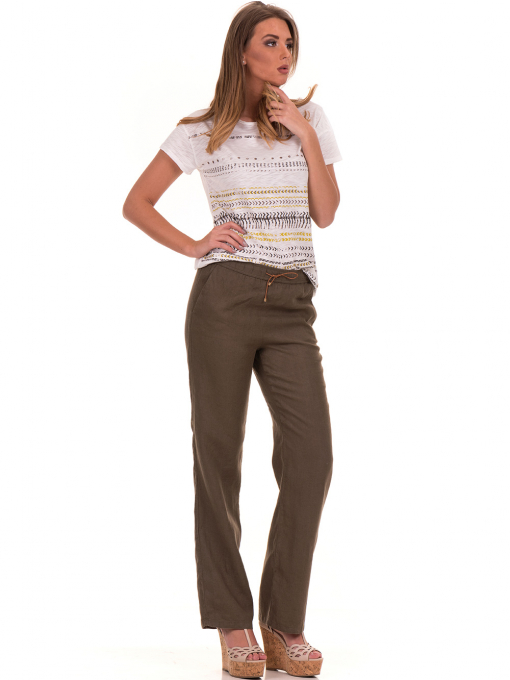 Дамски ленен панталон XINT - цвят каки C
