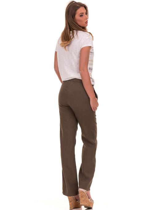Дамски ленен панталон XINT - цвят каки E