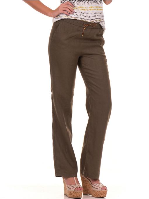 Дамски ленен панталон XINT - цвят каки