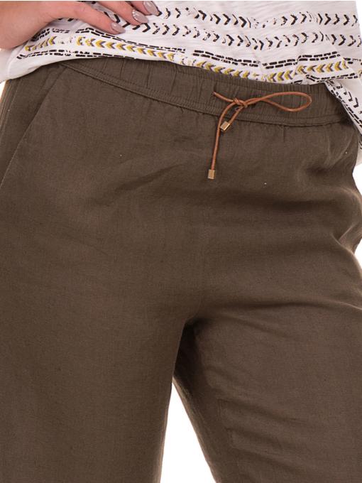 Дамски ленен панталон XINT - цвят каки D