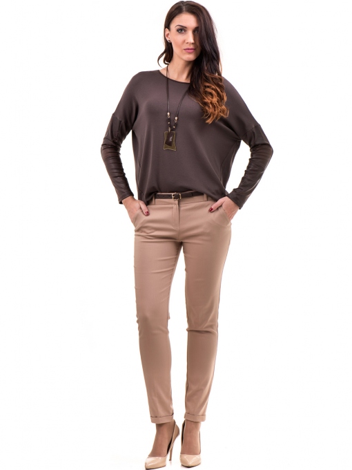 Дамски панталон ZANZI с колан  11107 - светло бежов C2
