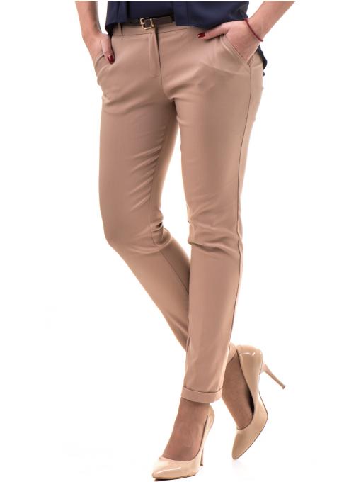 Дамски панталон ZANZI с колан  11107 - светло бежов