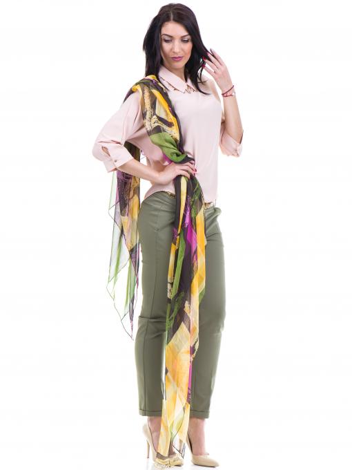 Дамски панталон ZANZI с колан 11107 - цвят каки C1