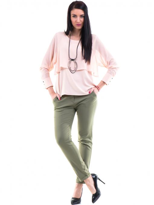 Дамски панталон ZANZI с колан 11107 - цвят каки C