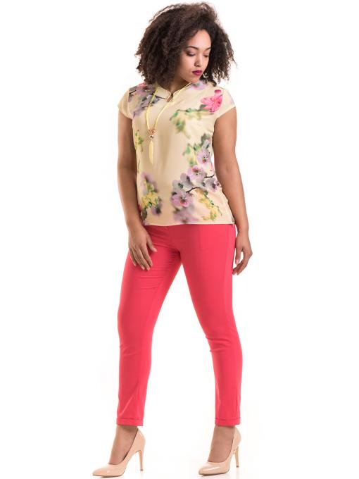 Дамски панталон ZANZI с колан 11107 - тъмно розов C